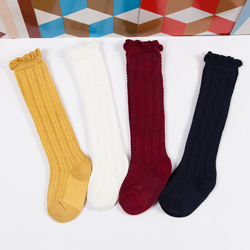 New Fashion spring Combed Cotton Socks Stockings Children 39 s Pure Twist Knee Socks girls Stockings baby in Tights amp Stockings from Mother amp Kids