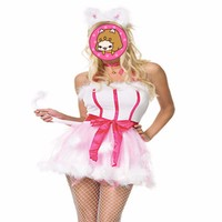 Abbille Halloween Dresses Pink Cat Costumes Cat Cosplay Festival Apparel For Women Strapless White Bunny Costumes