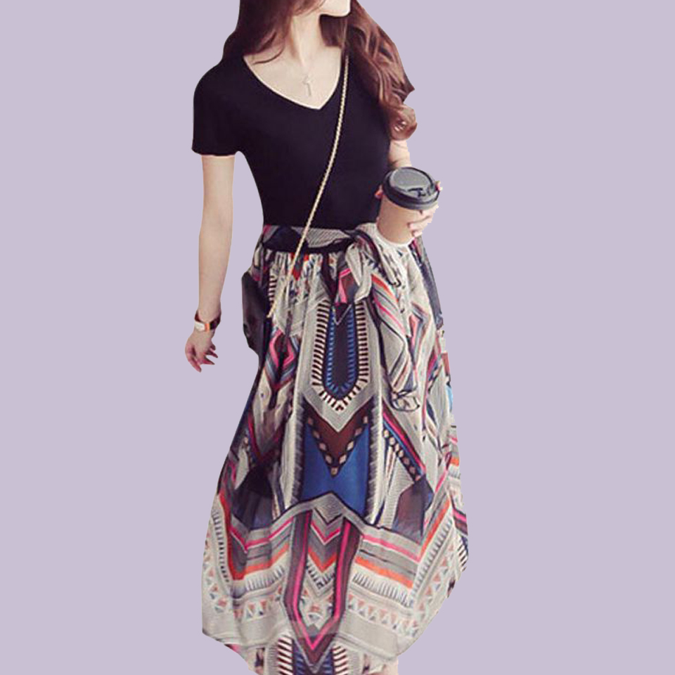 Fake Two Piece Dress With High Waist Sukienka Chiffon Gown Casual V Neck Dresses Patchwork Ethnic Wear Beach Robe Femme Ete 2019