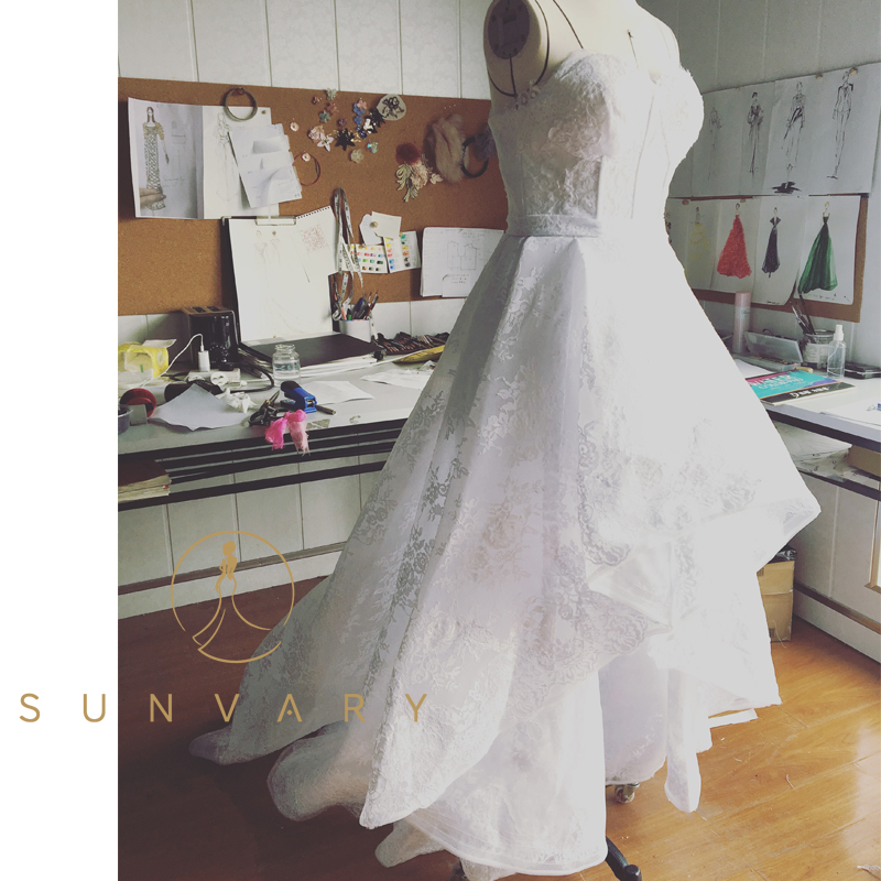 Sunvary Hi Lo Wedding Dresses Simple Organza Sweetheart