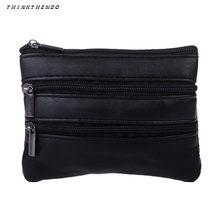 THINKTHENDO-Mini monedero a la moda para hombre y mujer, cartera Unisex con anilla para monedas, bolso cambiador pequeño con cremallera