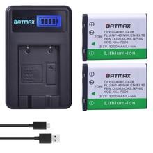 Batmax 2Pcs Li 40B Li 42B Li 40B Battery LCD USB Charger for Olympus Pentax D
