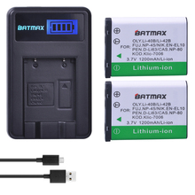Batmax 2Pcs Li-40B Li-42B Li 40B Battery + LCD USB Charger for Olympus Pentax D-Li63 Fuji NP-45 Nikon EN-EL10 NP80 CNP80 K7006