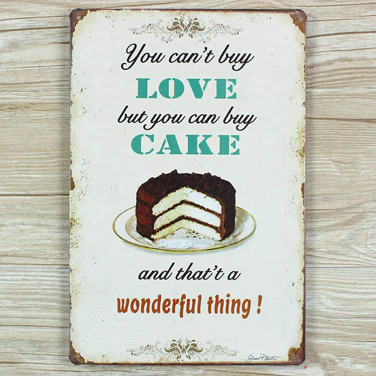2015 metal plaques Tin signs vintage home decor Food Cake decoration House for bar wall art craft vintage Metal plaque  20X30 CM