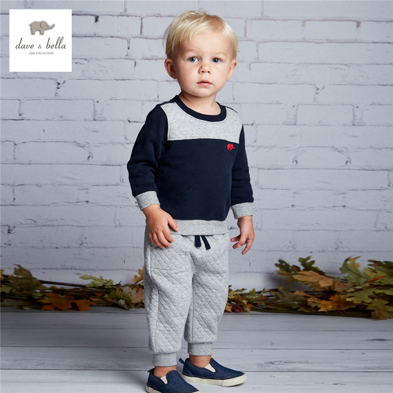 DB4070 dave bella autumn baby padded  clothing sets for boy navy sets infant set toddle clothes