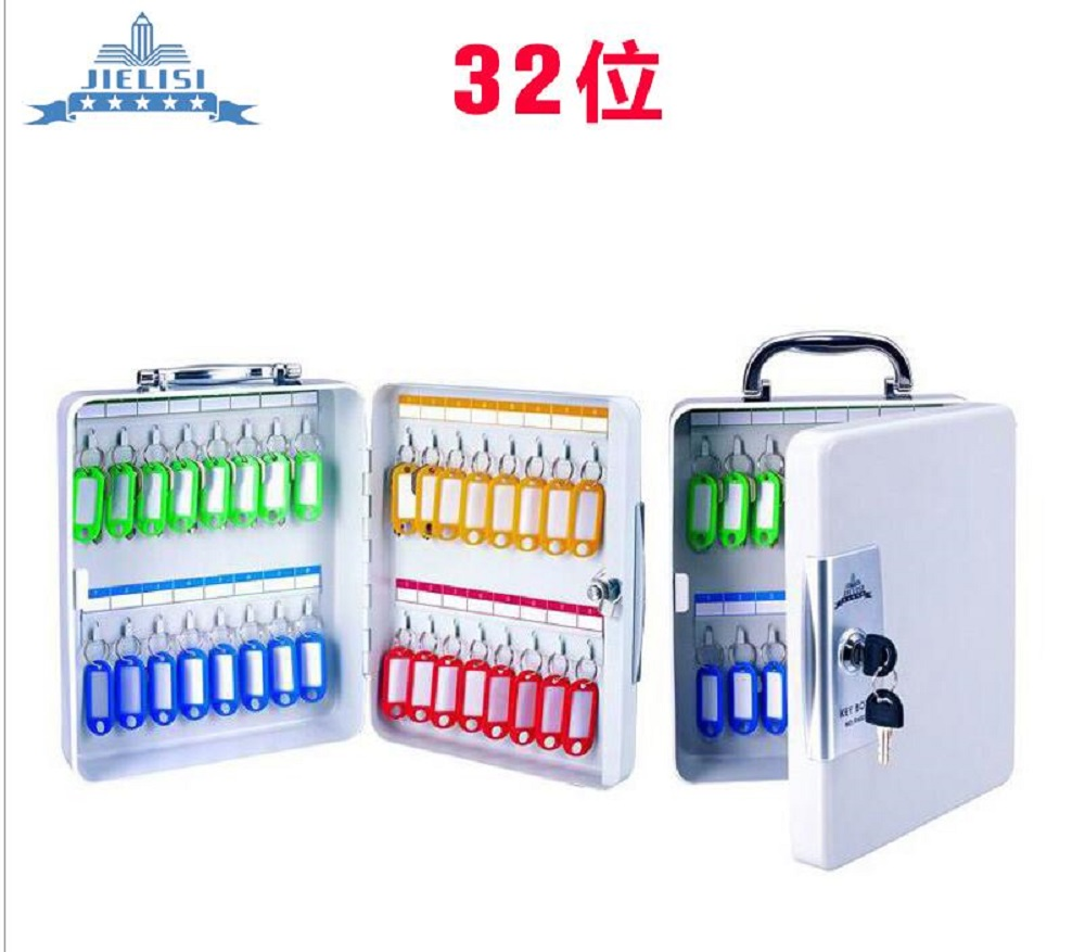 Key Cabinet Lockable Metal Box With 32 Tags Wall Mounted Security Key Storage For Property Management Company Home Office
