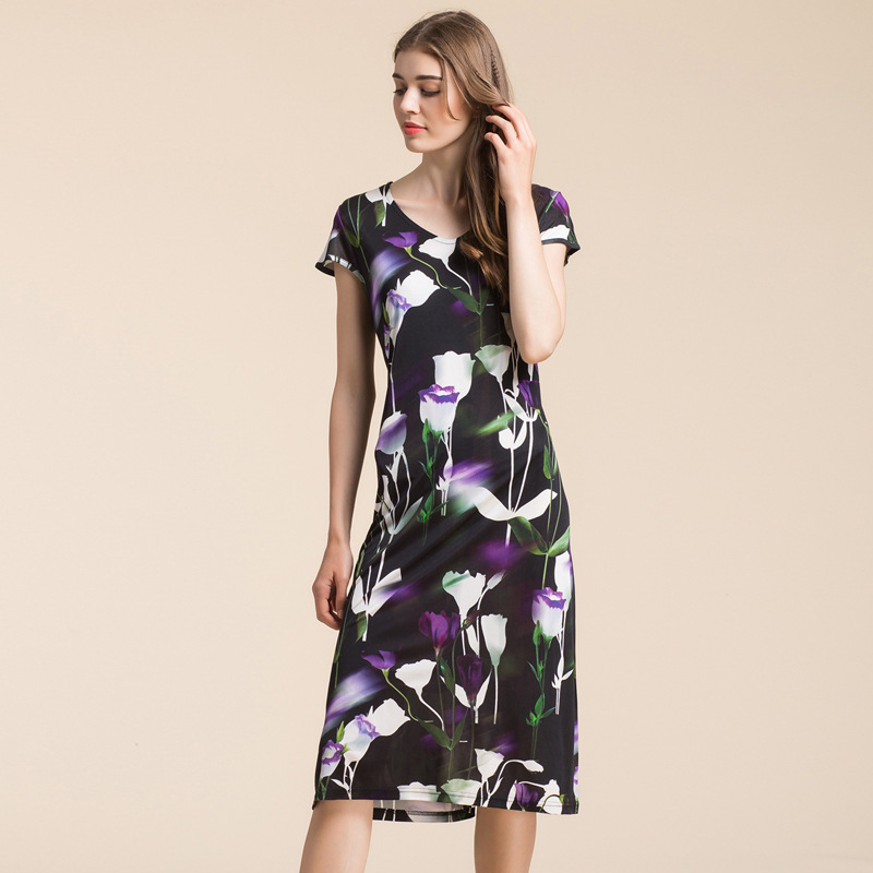 New High-grade Knitted Silk Dress, Women 100% PURE Silk, V Collar Short Sleeve, Fashion Printing,