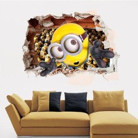 10pcs/Pack Minions Breakthrough Wall Sticker Decor Decals Removable 3D Stickers Kids Decor Mural Gift Art