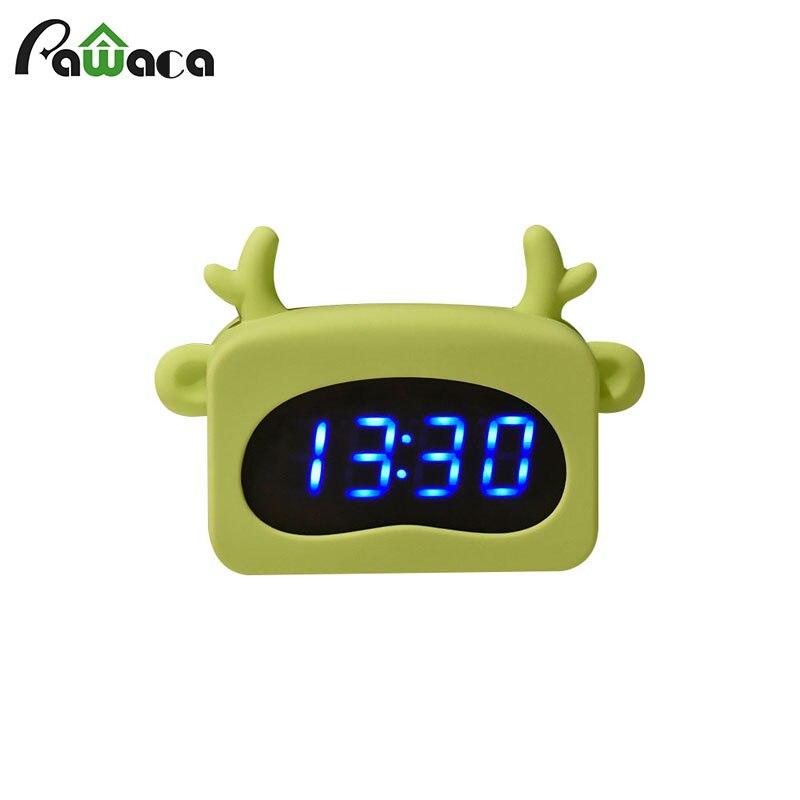 Lovely Silicone Alarm Clock Voice Control Digital Led Temperature Display Clock Table Clock Desktop Clock