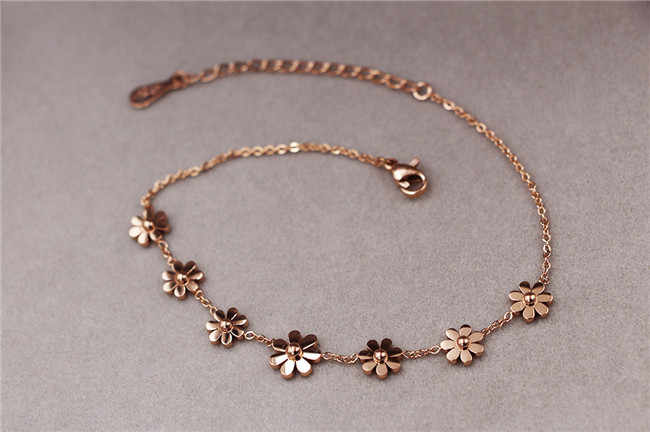 Martick Gold-color 316L Stainless Steel Lobster 7 Daisy Link Bracelets For Women Fashion Summer Style B197