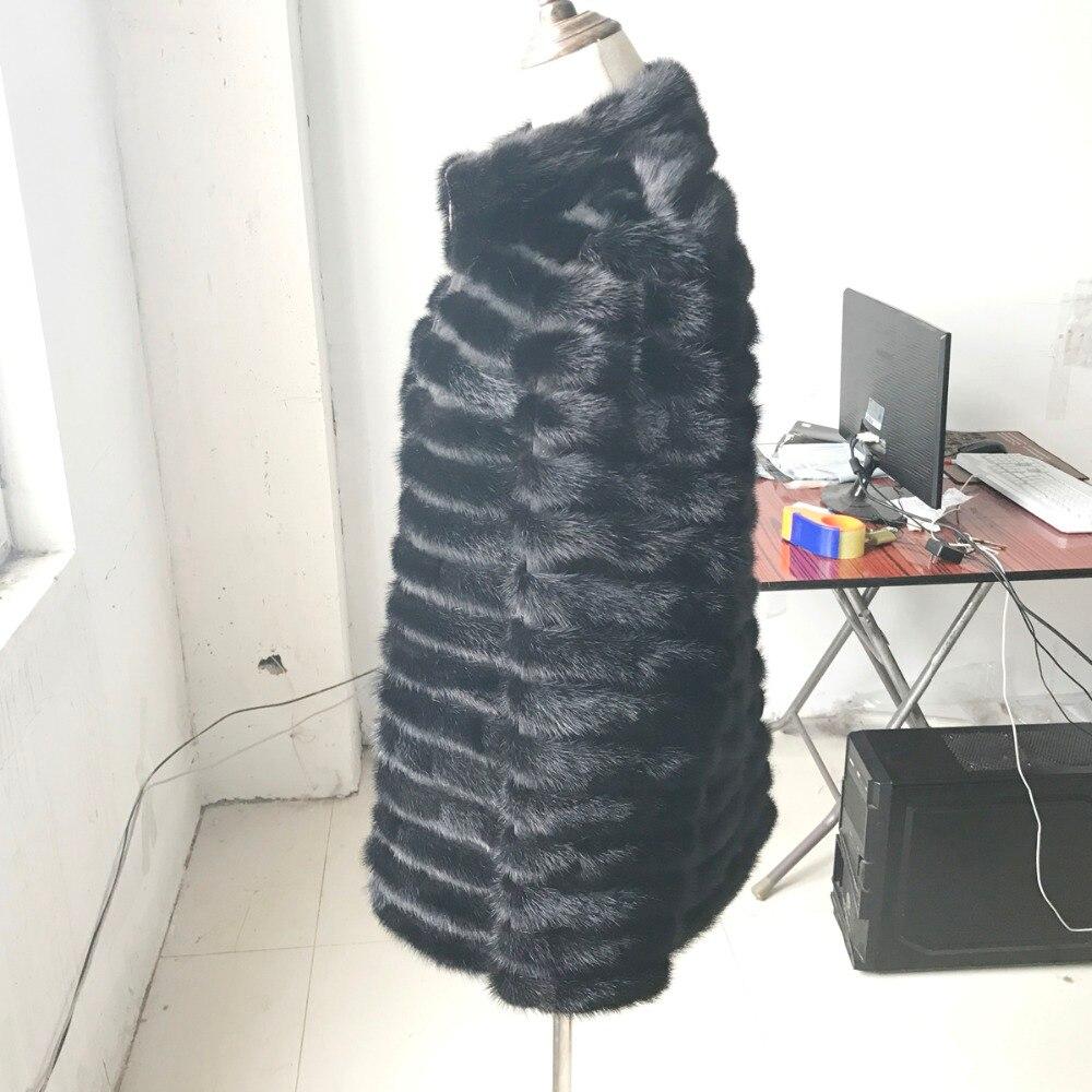 100 Vison Nouvelle Wrm Manteau Black Véritable Hiver De Réel Manteaux Vente Chaude Femmes Épais 2017 Fourrure Veste Mode Rq6w8R
