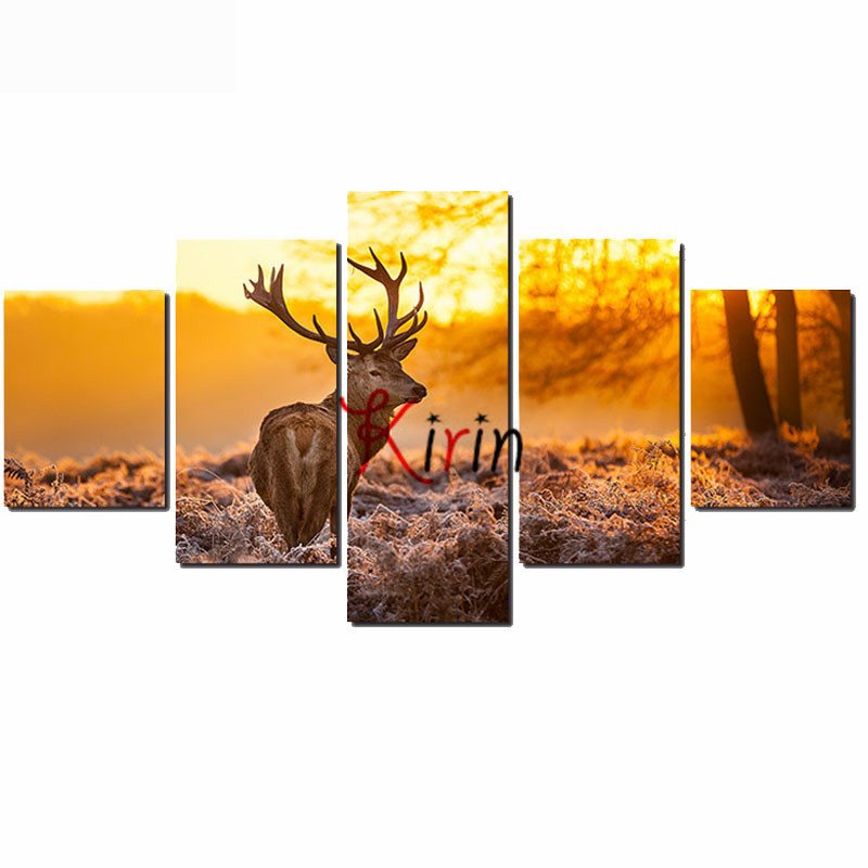 5 pcs set full 5D DIY Diamond Embroidery Animal Deer Painting Cross Stitch forest
