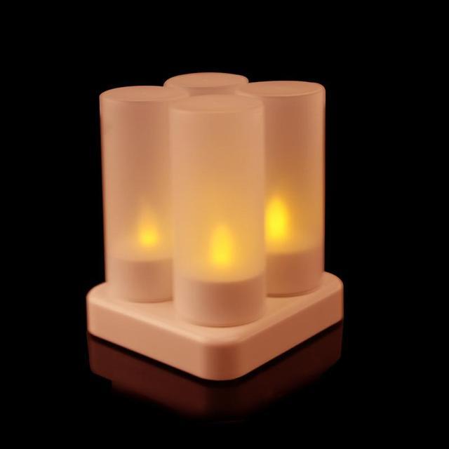 Weihnachten Datum.Us 19 65 40 Off Wiederaufladbare Flammenlose 4 Led Teelicht Mit Ladegerät Für Weihnachten Hochzeit Datum Teelicht Hochzeit Kerzen In