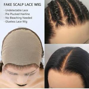 Image 5 - Накладные волосы на голову, невидимые, 13х6, кружевные, фронтальные, короткие, тупые, прямые, индийские, Remy, предварительно выщипывающиеся, отбеленные