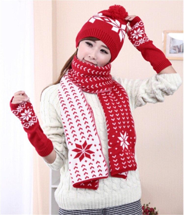 Womens Girls Woolen Yarn 3 Piece Snowflake Hat Gloves and Scarf Sets winter warm suite