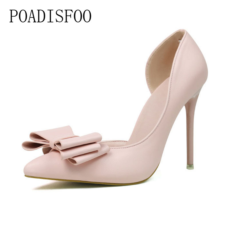 POADISFOO 2018 women pumps Sweet Bow High Heels Thin high-heeled Shallow Pointed Pointed Side Hollow Shoes .ZWM-3168-2 bigtree new spring women elegant pumps sweet bowknot high heeled shoes thin pink high heel shoes hollow pointed heels g3168 2