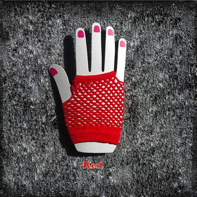 2015 High Quality Neon Short Fishnet Gloves Fish Net Black Fancy  Party Dance Club Nylon+Spandex Mesh Short Gloves 1