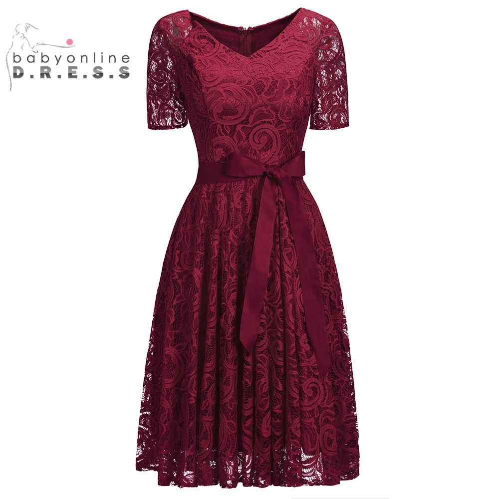 b3c8bca664c Half Sleeves Burgundy Short Lace Evening Dresses 2019 Plus Size Formal  Women Dresses With Sash Evening