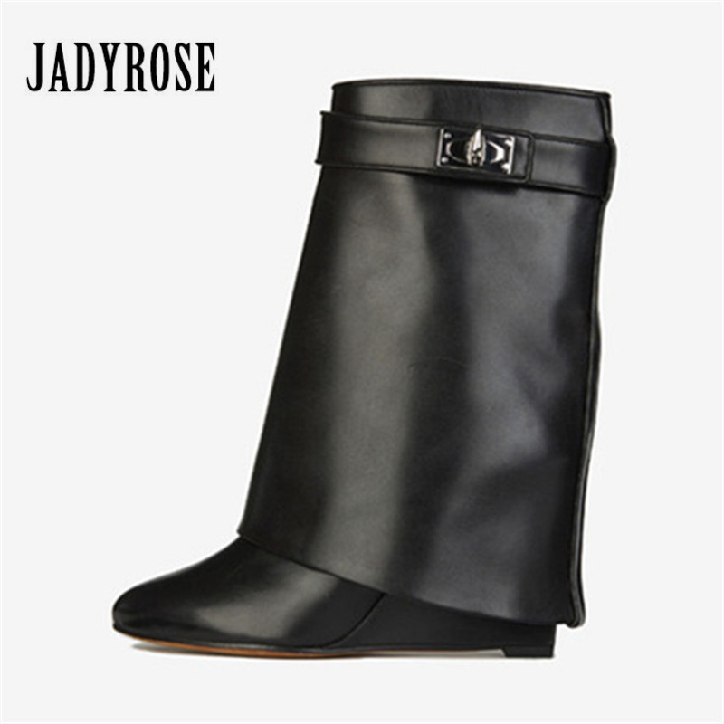 d3b5ebe59b0 Jady Rose Shark Lock Genuine Leather Women Wedge Boots Height Increasing  Fold Over High Boot Female