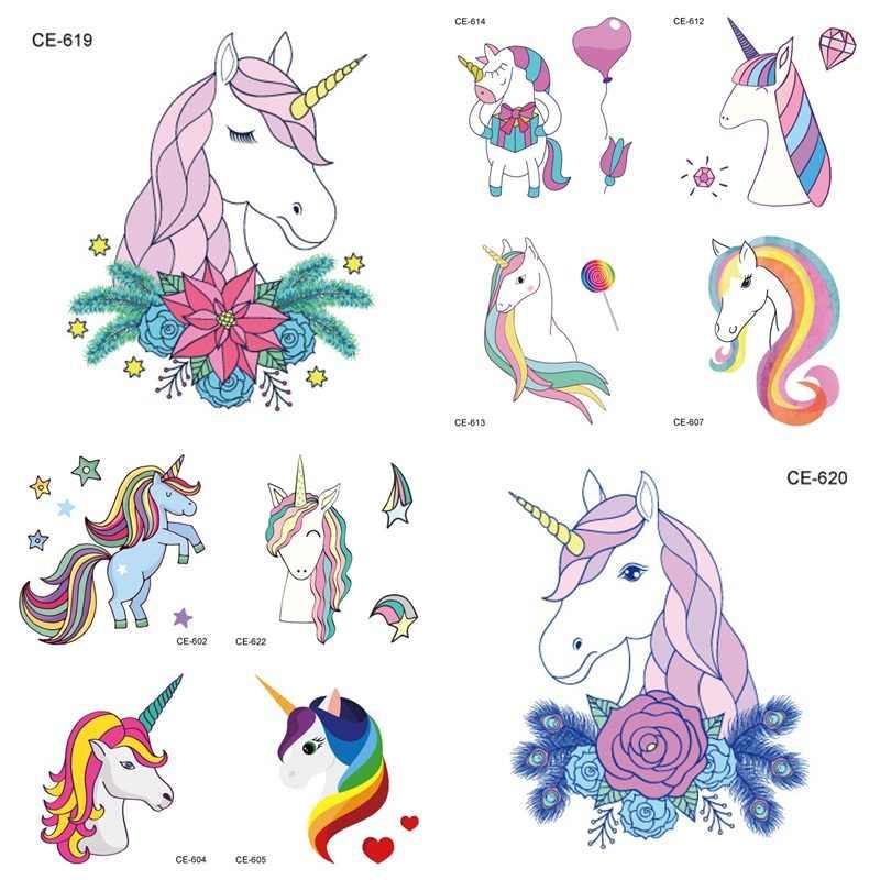Etiqueta engomada temporal del tatuaje del delfín del unicornio de la sirena de la historieta para los niños
