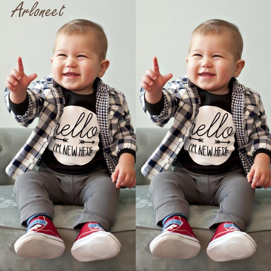 ARLONEET Rompers Baby Clothing Sets Newborn Baby Boy Girl Letter Long Sleeve Romper Outfits Clothes P30 Dec28