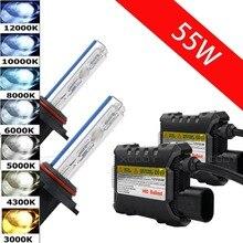 55 Вт 12 В Ксеноновые H7 свет комплект для установки фар лампы для автомобилей H3 H1 9006 9005 H4 H11 H8 H9 H10 H13 4300 К 6000 К 8000 К 12000 К