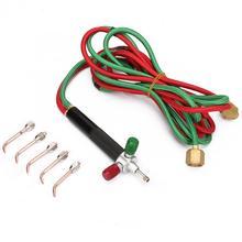 مصغرة الأكسجين الغاز الشعلة الأسيتيلين لحام بندقية لحام مجموعة أدوات 5 قطعة نصائح قابلة للاستبدال لحام لحام عدة أدوات