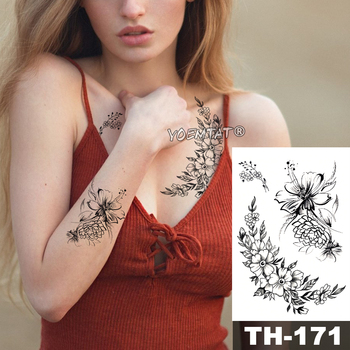 Waterproof Temporary Tattoo Sticker Sketch line peony pattern tatto Water Transfer Rose body art fake arm tatoo For Women 2