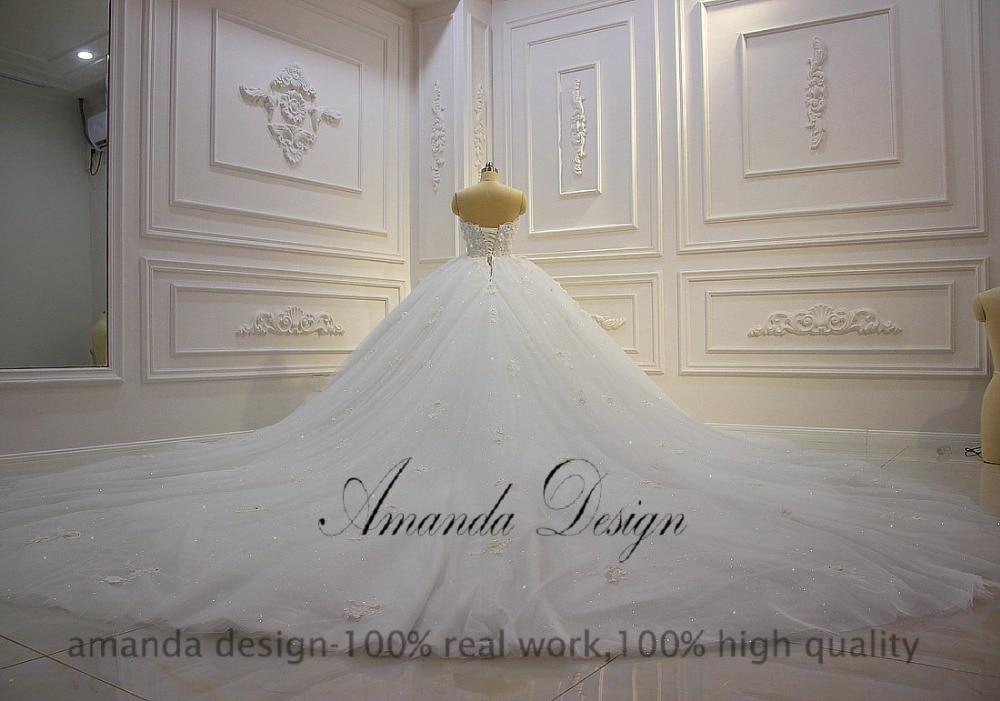 Image 4 - Amanda Design vestido de novia manga larga Strapless Lace Applique Puffy Ball Gown Wedding DressWedding Dresses   -