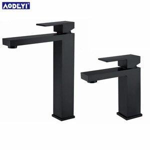 Image 3 - AODEYI banyo lavabo musluğu katı pirinç sıcak ve soğuk su mikser yüksek musluk tek kolu musluklar mat siyah kare lavabo muslukları