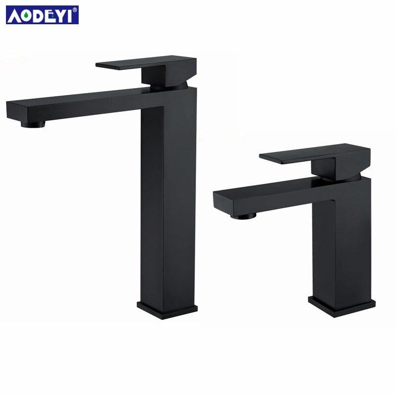 AODEYI robinet de salle de bain en laiton massif galvanoplastie robinet de bassin noir mélangeur d'eau froide et chaude mitigeur mitigeur carré - 3