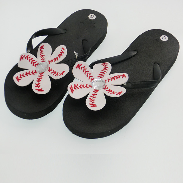 1df70d7a8 Diy Baseball Softball Flower Flip Flops Shoe In Baseball