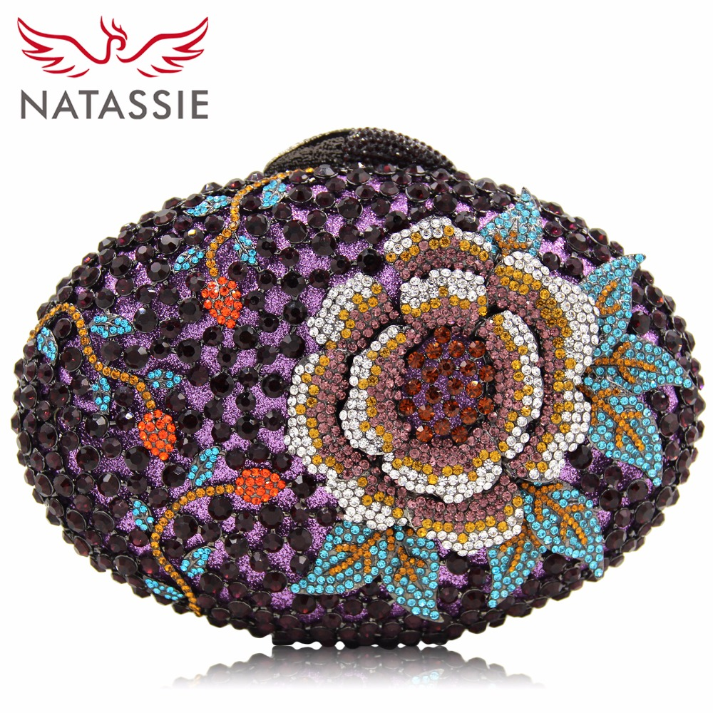 NATASSIE Women Crystal Clutches Bags Ladies Evening Bag Female Red Purple Party Clutch Wedding Purse natassie women crystal clutches bags ladies evening bag female red purple party clutch wedding purse