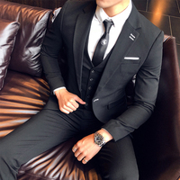 2019 new men's casual groom clothing wedding suit men's slim suit Korean version of the professional night show English suit