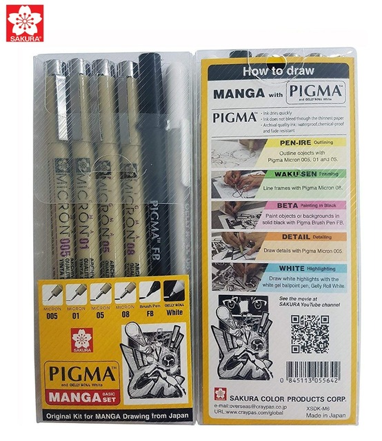 Sakura 6pcs Pigma Micron Pen,Archival Pigment Ink Technical Drawing Pen Manga for Artist 005,01,05,08,FB Brush,Gelly roll White