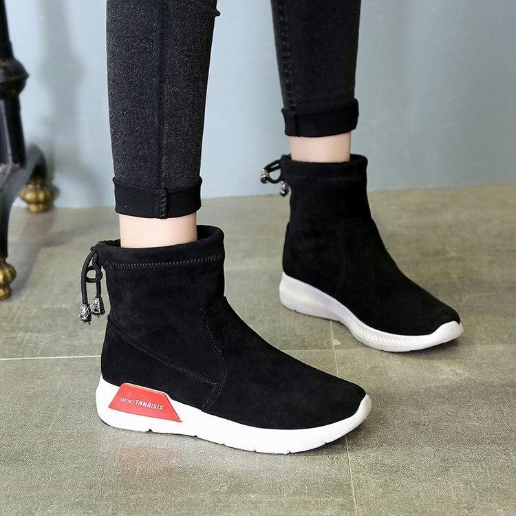 Piel Nieve Tamaño Algodón Invierno Alta Plana Zapatos Negro Botas naranja La Las Plataforma De Moda Hasta Rodilla 2017 Mujeres adX6wa