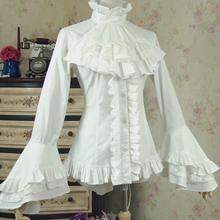 Spring women white shirt Vintage Victorian Bandage shirt Ladies gothic swallowtail blouse lolita costume Q20