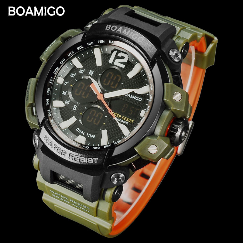 BOAMIGO Watch Men Quartz Watches Brand Military Sports Watches Men LED 50M Water Resistant Swim Wristwatches Relogio Masculino
