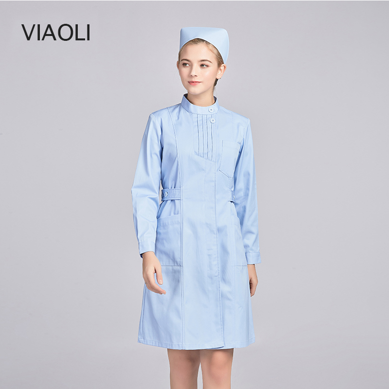 New Ladies Medical Robe Medical Lab Coat Hospital Doctor Slim Multicolour Nurse Uniform Medical Gown Overalls Women Scrubs 2019