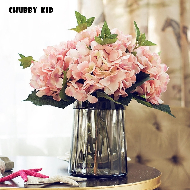 Nice Whole Artificial Silk Hydrangea Flowers Wedding Flower Decorative California Fake Hortensia Ortensia