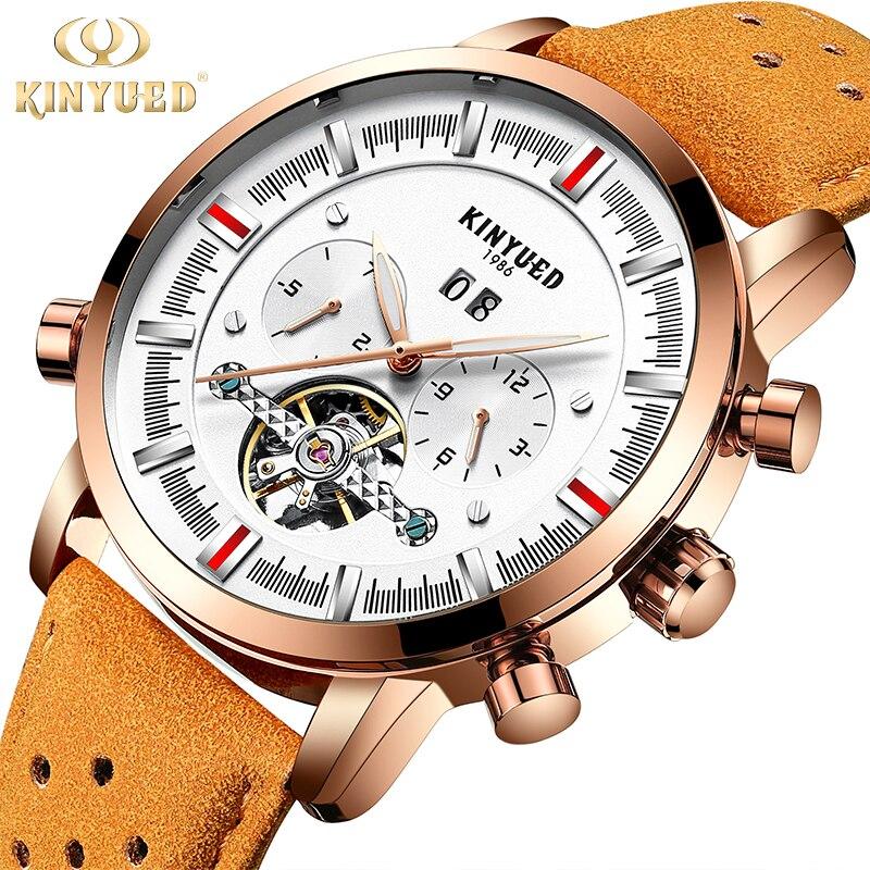 Kinyued механические часы Для мужчин Золотой роскошный кожаный ремешок Автоматический световой ручной часы Скелет Tourbillon мужской наручные Uhr