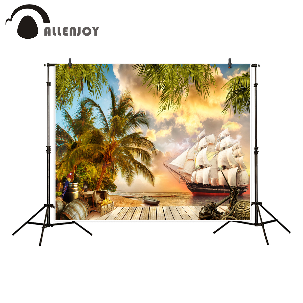 Allenjoy photography backdrop pirate ship Treasure chest coconut tree bucket parrot background photo studio camera fotografica kate natural scenery photography backdrop autumn defoliation for outdoor wedding photography background camera fotografica
