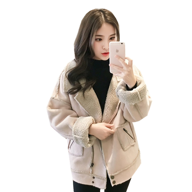 autumn winter clothing new Korean deer velvet lamb fur collar jacket female short paragraph fur one thick bomber jacket women