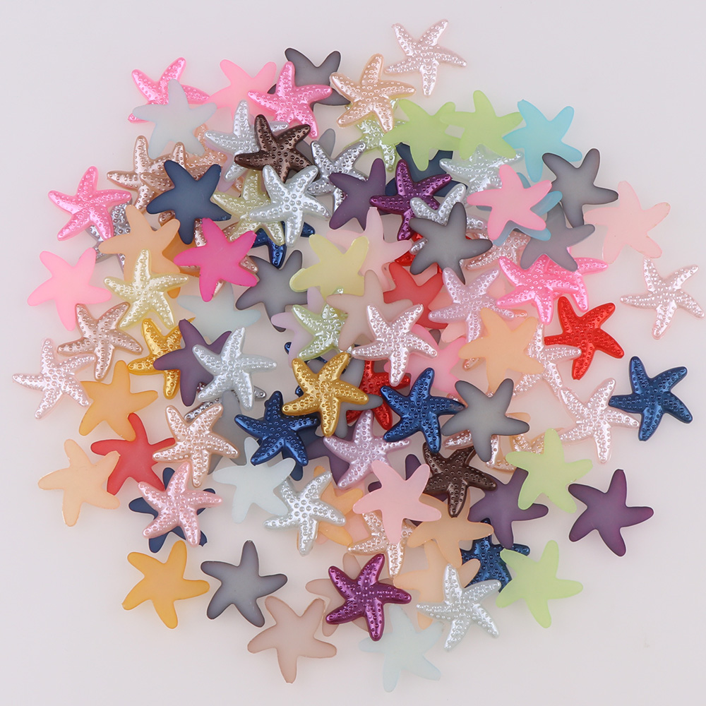 100pcs/lot 18mm Mix Color Half ABS Imitation Pearl Beads Starfish Shape Flat Back Scrapbook Craft DIY Jewelry Findings