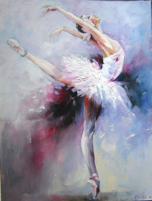 Hand Painted Ballet Dancer Oil Painting Swan Lake 1 By Nelya Shenklyarsk Woman Abstract Modern