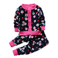 2015Autumn winter baby girls christmas clothing set kid Flower thicken Warm clothes set children Thermal cardigan sweaters+pant
