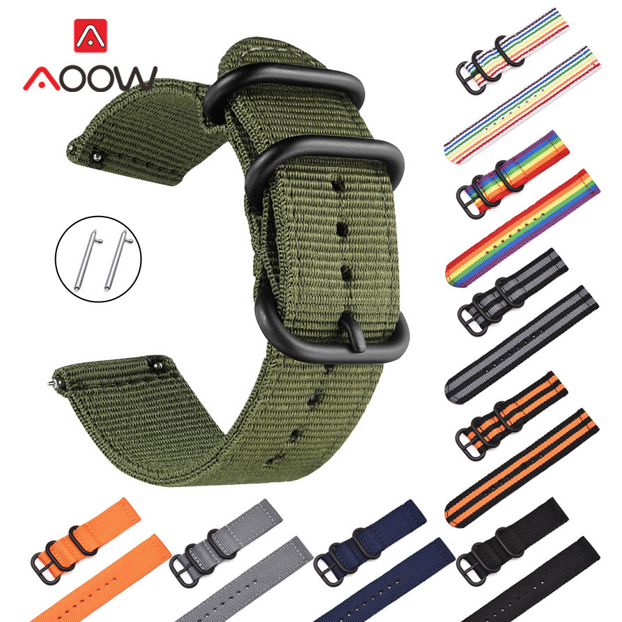 Woven Nylon Nato Strap 18mm 20mm 22mm 24mm For Samsung Galaxy Watch Active 42mm 46mm Amazfit Fabric Replacement Bracelet Band