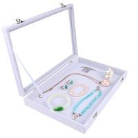 White Color Velvet Earrings Ring Bracelets Organizer Ear Studs Jewelry Glass Display Showcase Plate 35*24*4.5cm(L*W*H)