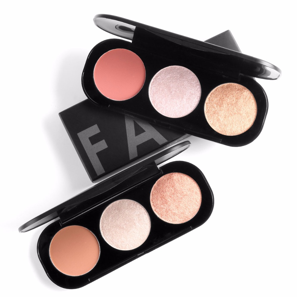 Focallure Brand 3 Colors Blush & Highlighter Palette Highly Pigmented Face Matte Highlighter Powder Illuminated Blush With Brush Beauty & Health