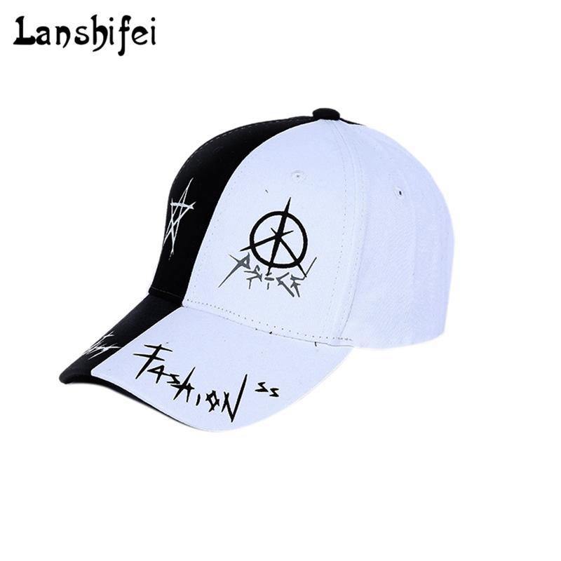 Black Flat Peak Baseball Cap White Diamond Print Rapper Hat Snapback Adjuster